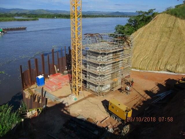 Actividades constructivas de pila apoyo 21A del puente sobre el Río Magdalena UF4 - Octubre 2018
